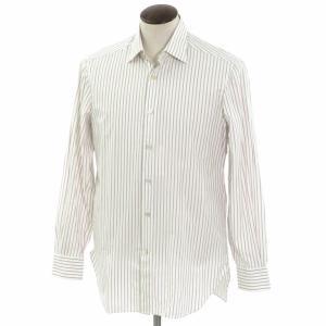 キートン Kiton ストライプ柄 コットン セミワイドカラー ドレスシャツ ホワイト×グレー×ローズ 41|ritagliolibro