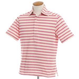 バルバ BARBA 鹿の子コットン 半袖ポロシャツ ベージュ×レッド×ホワイト M|ritagliolibro