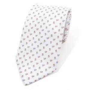 ステファノ ビジ stefano bigi 花小紋柄 シルク  3つ折り ネクタイ ライトシルバー×ラベンダー×ベージュ|ritagliolibro