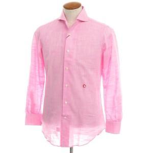 ジョバンニ イングレーゼ Giovanni Inglese リネンコットン ホリゾンタルカラー シャツ ピンク 39|ritagliolibro
