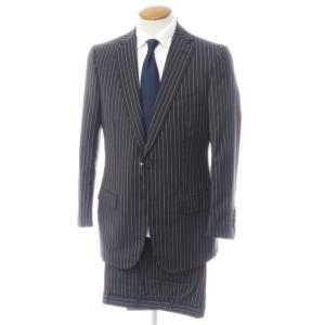 イザイア ISAIA モヘア混ウール 2つボタン スーツ ブラックネイビー×ホワイト 48|ritagliolibro