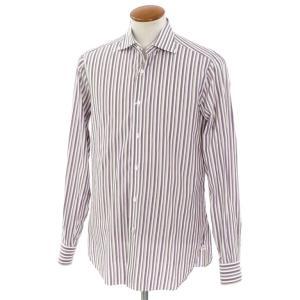 イザイア ISAIA ストライプ柄 コットン ワイドカラー ドレスシャツ ホワイト×パープル×ベージュ 40|ritagliolibro