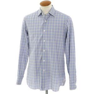 イザイア ISAIA チェック柄 コットン レギュラーカラー ドレスシャツ ホワイト×ブルー×ベージュ 40|ritagliolibro