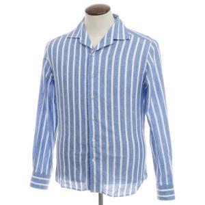 ギローバー GUY ROVER ストライプ柄 リネンコットン オープンカラー シャツ ブルー×ホワイト L|ritagliolibro