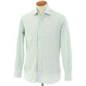 ギローバー GUY ROVER チェック柄  コットン ワイドカラー シャツ ホワイト×グリーン×ブルー 38|ritagliolibro