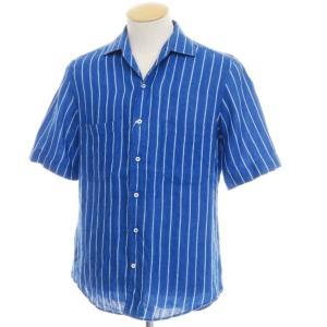 ギローバー GUY ROVER ストライプ柄 リネン 半袖 オープンカラー シャツ ブルー×ホワイト S|ritagliolibro