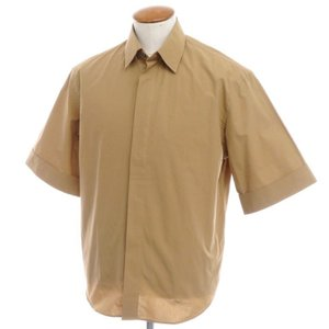 アウトレット バグッタ Bagutta コットン 比翼仕立て 半袖シャツ キャメル 38|ritagliolibro
