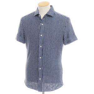 ブルネロ クチネリ BRUNELLO CUCINELLI リネンジャージー 半袖 カジュアルシャツ ネイビー×ホワイト XS|ritagliolibro