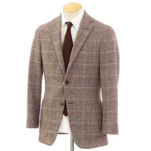 ベルベスト Belvest チェック柄 ウール 3つボタン テーラードジャケット ブラウン×ピンク 42|ritagliolibro