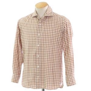 オリアン ORIAN チェック カジュアルシャツ ライトブラウン×ホワイト S|ritagliolibro