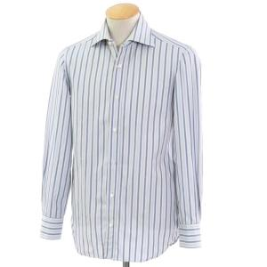 イザイア ISAIA ストライプ ドレスシャツ ライトブルーグレー×グレー×イエロー 37|ritagliolibro