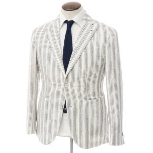 エルビーエム1911 L.B.M.1911 コットンナイロンリネン 2Bジャケット ホワイト×ネイビー 50 ritagliolibro