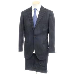 トゥモローランド TOMORROWLAND ウール ストライプ 3つボタン スーツ ブラック 44|ritagliolibro
