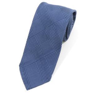 ニッキー nicky グレンチェック柄 シルク 3つ折り ネクタイ ネイビー×ダルブルー|ritagliolibro
