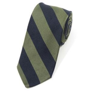 ブリューワー BREUER ストライプ柄 シルク 3つ折り ネクタイ ネイビー×モスグリーン|ritagliolibro