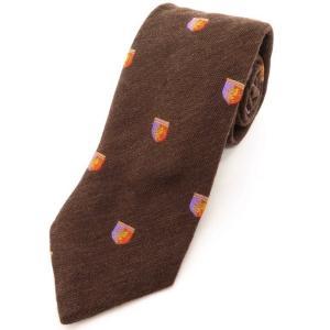 ポールスミス コレクション PAUL SMITH COLLECTION クレスト柄 3つ折り シルクウール ネクタイ ブラウン×オレンジ×パープル|ritagliolibro