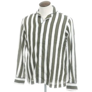 アウトレット バグッタ Bagutta プリント リネンコットン オープンカラーシャツ ホワイト×モスグリーン L ritagliolibro