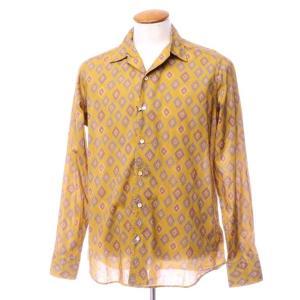 アウトレット バグッタ Bagutta コットン ダイヤプリント オープンカラーシャツ オーカー 40 ritagliolibro