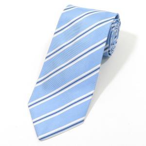 ルイジ ボレッリ LUIGI BORRELLI ストライプ柄 シルク 3つ折り ネクタイ ライトブルー×ホワイト|ritagliolibro