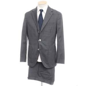 ボリオリ BOGLIOLI ウール ウィンドーペーン チェック 3つボタン スーツ グレー 44|ritagliolibro