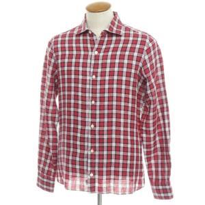 フィナモレ Finamore リネン チェック柄 ワイドカラーシャツ レッド×ネイビー×ホワイト 40|ritagliolibro