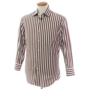 マリアサンタンジェロ Maria Santangelo ストライプ柄 コットン セミワイドカラー ドレスシャツ ブラウン×ホワイト 39|ritagliolibro