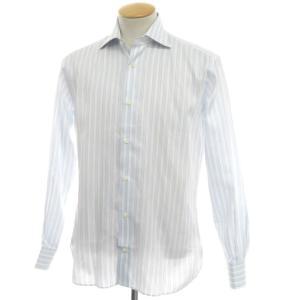 ギローバー GUY ROVER ストライプ柄 コットン ワイドカラー ドレスシャツ サックス×ホワイト 38|ritagliolibro