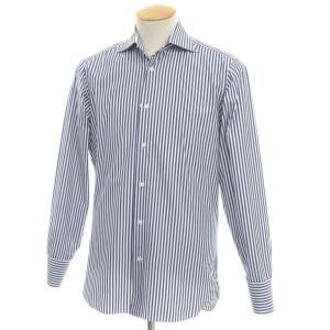 フランコミヌッチ Franco Minucci ストライプ柄 コットン ワイドカラー ドレスシャツ ネイビー×ホワイト 37|ritagliolibro