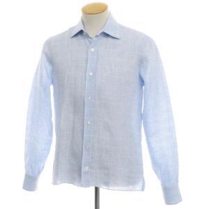 マリアサンタンジェロ Maria Santangelo リネン チェック柄 セミワイドカラーシャツ ライトブルー×ホワイト S|ritagliolibro