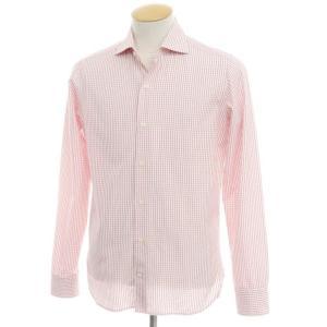ギローバー GUY ROVER チェック コットン ワイドカラーシャツ ホワイト×レッド 38|ritagliolibro
