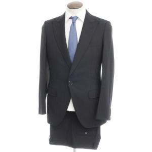 その他ブランド Brand シャドウストライプ ウール ピークドラペル 1Bスーツ ブラック 50|ritagliolibro