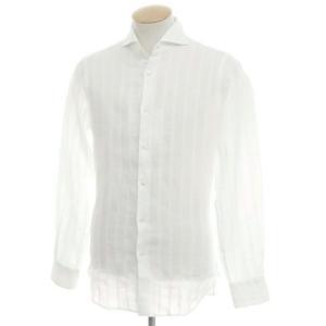 ギローバー GUY ROVER シャドウストライプ リネンコットン ホリゾンタルカラーシャツ ホワイト S|ritagliolibro