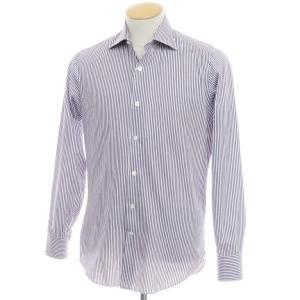 マリアサンタンジェロ Maria Santangelo ストライプ コットン ワイドカラーシャツ ホワイト×パープル 37|ritagliolibro