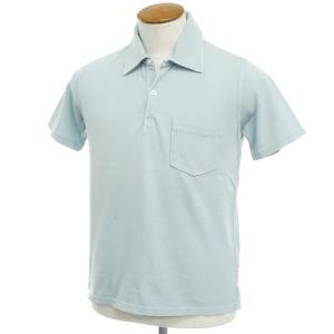 アウトレット フェデーリ FEDELI コットン鹿の子 半袖ポロシャツ ライトスモークブルー 48|ritagliolibro