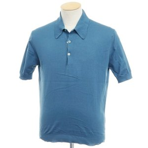 ジョンスメドレー JOHN SMEDLEY シーアイランドコットン 半袖ニットポロシャツ ダルブルー XS|ritagliolibro