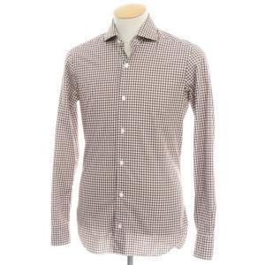 バルバ ダンディライフ BARBA DANDY LIFE ギンガムチェック コットン ワイドカラーシャツ ブラウン×ホワイト 37|ritagliolibro