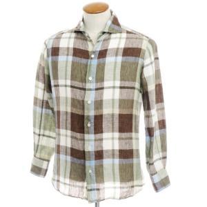 フィナモレ Finamore リネン チェック ワイドカラーシャツ モスグリーン×ブラウン M|ritagliolibro