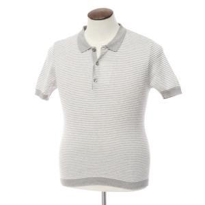 ルトロワ Letroyes ボーダー コットン 半袖ニットポロシャツ グレー×ホワイト L ritagliolibro