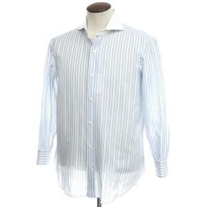 チェーザレ アットリーニ Cesare Attolini ホリゾンタルカラー クレリックシャツ ホワイト×ライトブルー 42|ritagliolibro