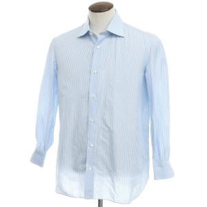 ルイジ ボレッリ LUIGI BORRELLI リネン ストライプ ワイドカラーシャツ ライトブルー×ホワイト 42 ritagliolibro