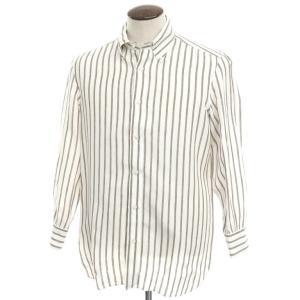 ルイジ ボレッリ LUIGI BORRELLI リネン ストライプ ボタンダウンシャツ ホワイト×アッシュブラウン 42 ritagliolibro