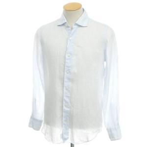 フィナモレ Finamore リネン ワイドカラーシャツ サックス×ホワイト S|ritagliolibro