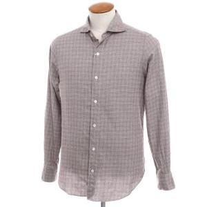 フィナモレ Finamore コットン グレンチェック ホリゾンタルカラーシャツ ブラウン×ホワイト 40|ritagliolibro
