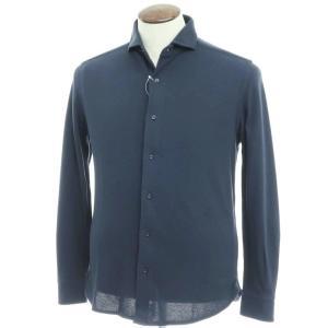 ギローバー GUY ROVER コットン鹿の子 ホリゾンタルカラーシャツ ネイビー XL|ritagliolibro