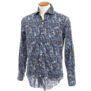 フィナモレ Finamore コットン ペイズリー ワイドカラーシャツ ネイビー 40|ritagliolibro