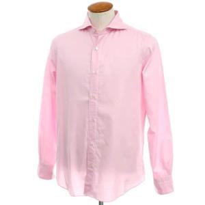 フィナモレ Finamore コットン ホリゾンタルカラーシャツ ピンク 40|ritagliolibro