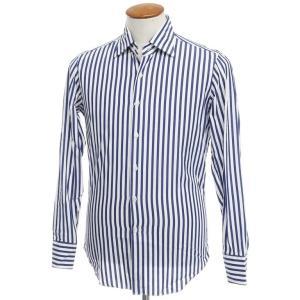 マリアサンタンジェロ Maria Santangelo コットン ストライプ  ドレスシャツ ネイビーブルー×ホワイト 39|ritagliolibro