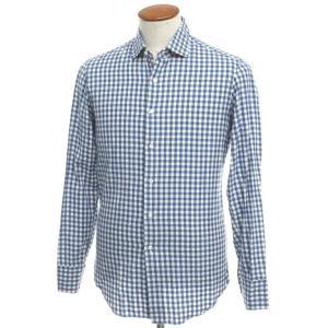 マリアサンタンジェロ Maria Santangelo コットン ギンガムチェック セミワイドカラー シャツ ブルー×ホワイト 39|ritagliolibro