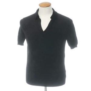 未使用 セッテフィーリ カシミア Settefili Cashmere レーヨン ナイロン 半袖 スキッパー ポロシャツ ブラック 46 ritagliolibro