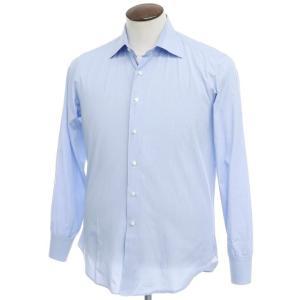 マリアサンタンジェロ Maria Santangelo コットン マイクロチェック セミワイドカラー ドレスシャツ ブルー 42|ritagliolibro